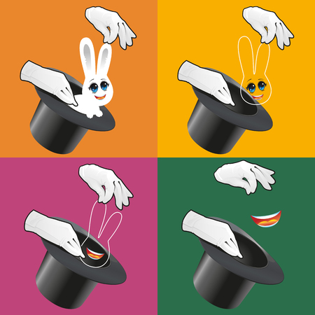 Magician pulling rabbit out of top hat. Classic magic trick vector illustration. Illustration