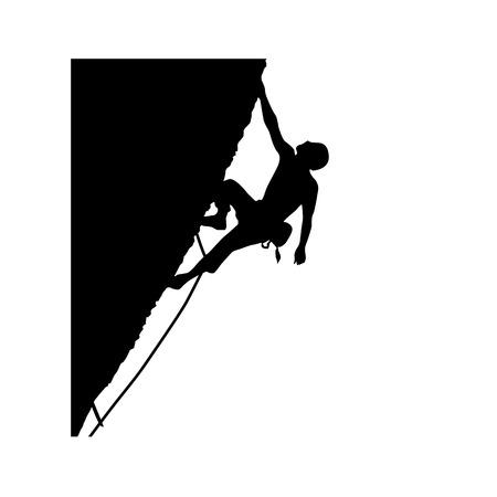 Mountain climber icon. Alpinist, mountaineer climbing up rock vector illustration. Vetores