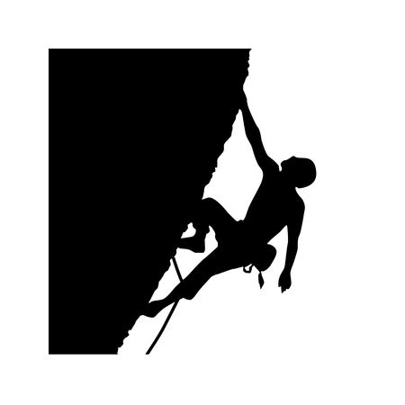 Mountain climber icon. Alpinist, mountaineer climbing up rock vector illustration. 일러스트
