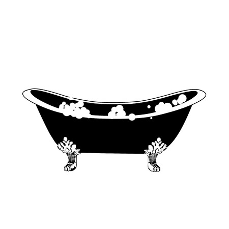 Hot tub, bath icon. Elegant bath in vintage style with soap bubbles vector illustration. Çizim
