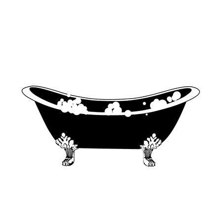 Hot tub, bath icon. Elegant bath in vintage style with soap bubbles vector illustration. Vettoriali