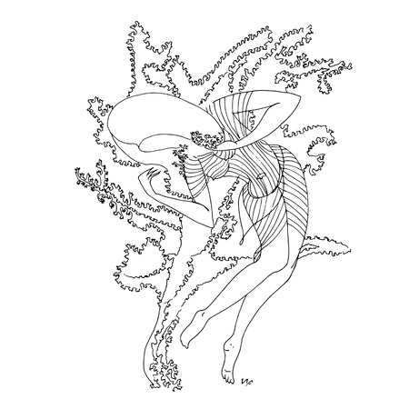 Original print for t-shirt - Dancing woman. World of Woman graphical art series. Vector Illustration