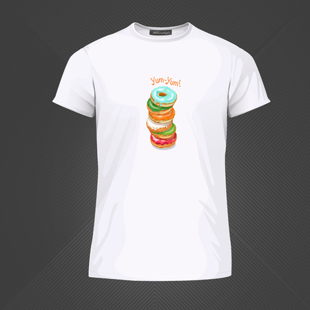 Original print for t-shirt. White t-shirt with fashionable design - Yummy donuts. Vector Illustration  イラスト・ベクター素材