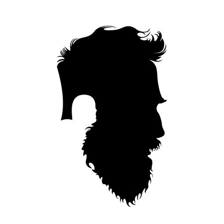 Hipster head icon, Stylish male profile with hipster haircut and beard. Vector illustration Stock Illustratie