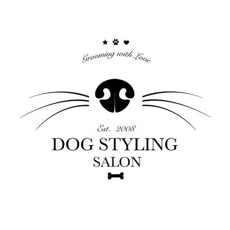 Logotipo para peluquería canina, tienda de peluquería y peluquería canina, tienda para mascotas. Ilustración vectorial