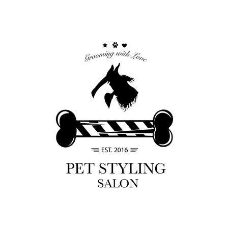 Logo for pet hair salon, pet styling and grooming shop, store for dog and cats. Vector illustration 矢量图像