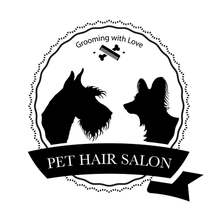 Logo for pet hair salon, pet styling and grooming shop, store for dogs and cats. Vector illustration Stock Illustratie