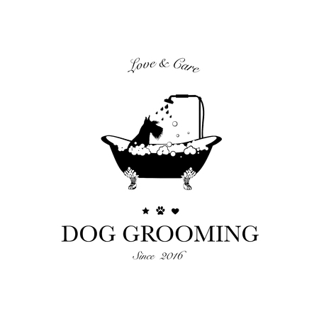 Cute dog taking shower in bath. Logo for dog hair salon, styling and grooming shop, store for pets. Vector illustration