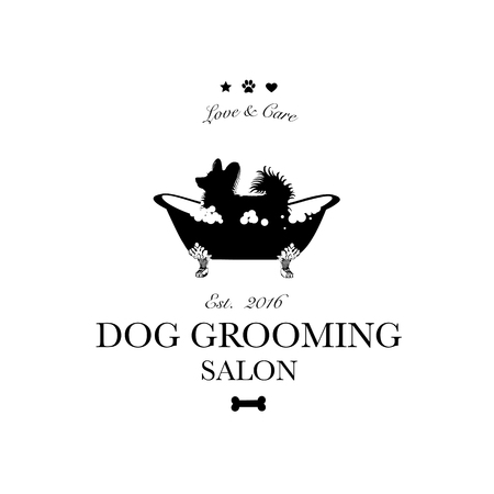Cute dog in bath. Logo for dog hair salon, styling and grooming shop, store for pets. Vector illustration