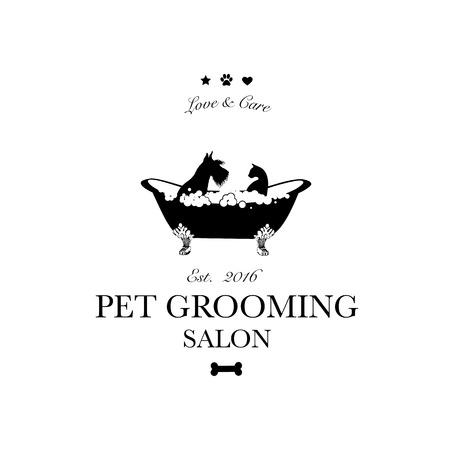 Lindo perro y gato en el baño. Logotipo para peluquería de mascotas, tienda de peluquería y peluquería para mascotas, tienda para perros y gatos. Ilustración vectorial