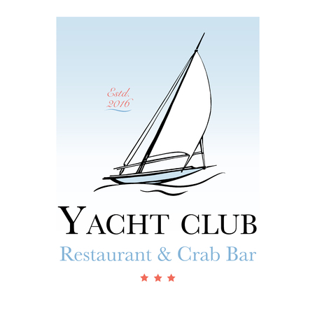 Seafood restaurant and seafood menu identity - Logo with yacht. Vector Illustration