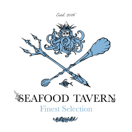 Seafood restaurant and seafood menu identity - Logo with God of Sea Poseidon and sea-style cutlery. Vector Illustration Illustration