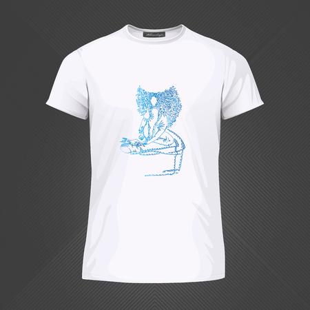 Original print for t-shirt - Girl reading book. World of Woman graphical art series. Vector Illustration Stock Illustratie