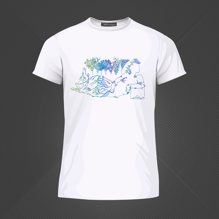 Original print for t-shirt - Androgyn relaxing and smoking shisha with forrest lanscape in background. World of Woman art series. Vector Illustration