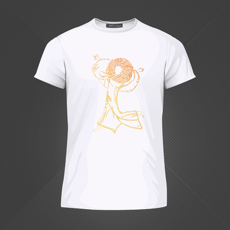 Original print for t-shirt - Joyful person running with raised hands. World of Woman graphical art series. Vector Illustration