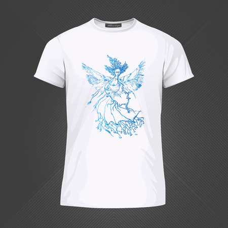 Original print for t-shirt - Hovering bird with womans head. World of Woman graphical art series. Vector Illustration