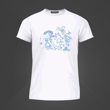 Original print for t-shirt - Mermaid woman with branch hair. World of Woman graphical art series. Vector Illustration