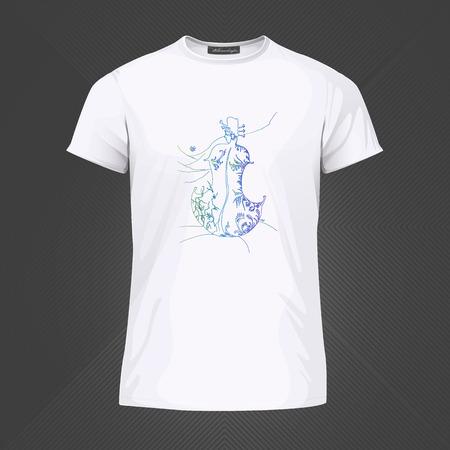 Original print for t-shirt - Woman guitar. World of Woman graphical art series. Vector Illustration Stock Illustratie