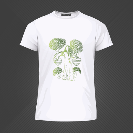 Original print for t-shirt - Woman carrying pots with trees on her shoulders. World of Woman graphical art series. Vector Illustration Stock Illustratie