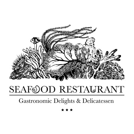 Seafood restaurant and seafood menu identity - Logo with coral reef and underwater flora Vector Illustration in gray
