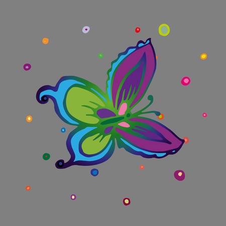 Flying butterfly with large colorful wings Vector Illustration