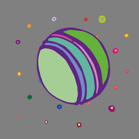 Children style drawing of ball. Sports game ball with colorful stripes. Vector Illustration