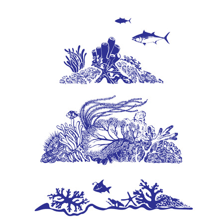 Underwater world and beautiful sea life Fish, coral reef, polyps and deep water plants Vector Illustration Illustration