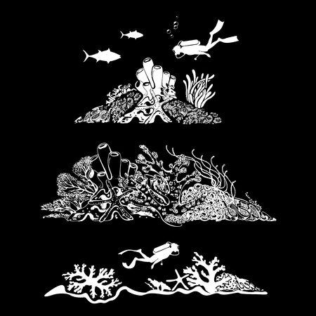 Underwater world. Scuba diver swimming over beautiful sealife. Fish, coral reef, polyps and deep water plants. Vector Illustration Illustration