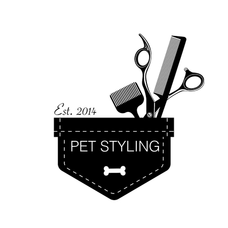 Logo for pet hair salon, styling and grooming shop, store for pets Vector illustration  イラスト・ベクター素材