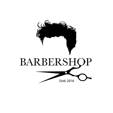 A Logo For Barbershop Hair Salon With Hipster Haircut And Barber