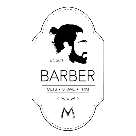 A Logo for barbershop, hair salon with pony tailed hipster head Vector Illustration