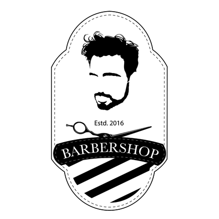 A Logo for barbershop, hair salon with hipster head and barber scissors Vector Illustration