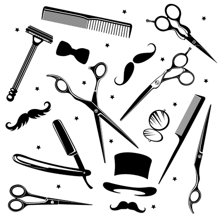 Set of men's fashion icons including barber tools and gentlemen's accessories Vector Illustration