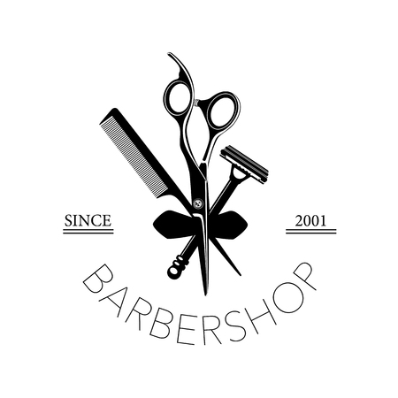 A Logo for barbershop, hair salon with barber scissors, razor and comb Vector Illustration