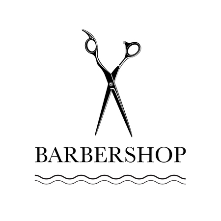 A Logo for barbershop, hair salon with barber scissors Vector Illustration Stok Fotoğraf - 100991933