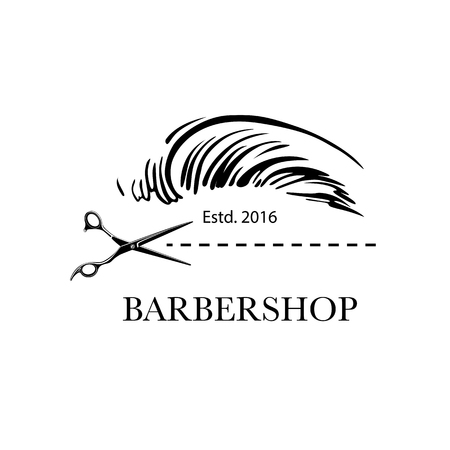Logo for barbershop, hair salon with barber scissors and haircut. Vector Illustration
