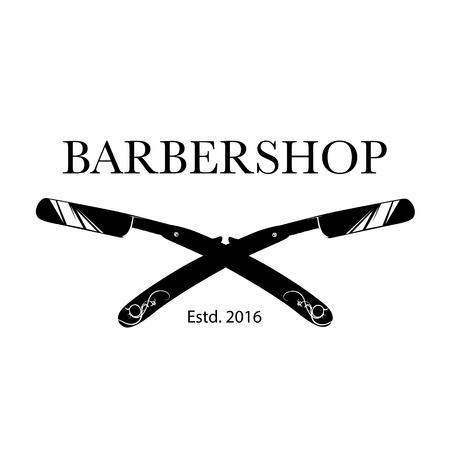 Icon for barbershop, hair salon with barber razor blades. Illustration