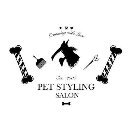 Logo for pet hair salon, styling and grooming shop, pet store for dogs and cats. Vector illustration