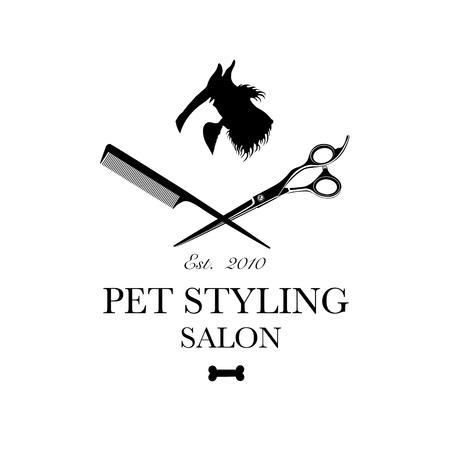 Logo pour salon de coiffure pour animaux de compagnie, boutique de coiffage et de toilettage, animalerie pour chiens et chats. Illustration vectorielle