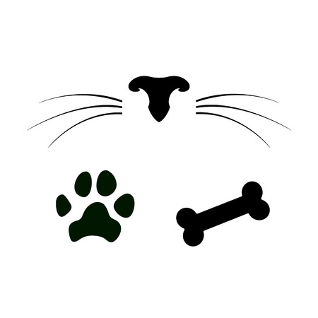 Set of dog and cat icons. Pet nose with whiskers, paw and bone. Vector illustration