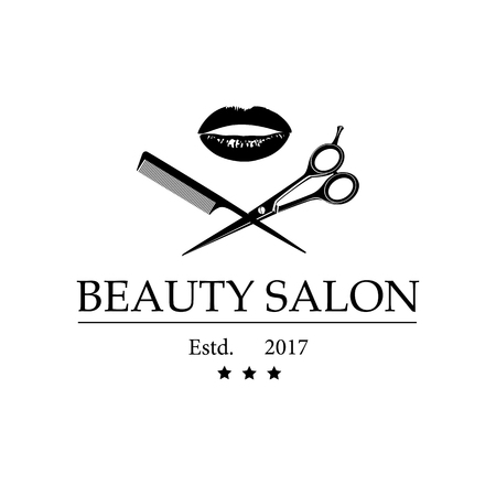 Logo for beauty salon with womans lips, scissors and comb. Vector Illustration Ilustracja