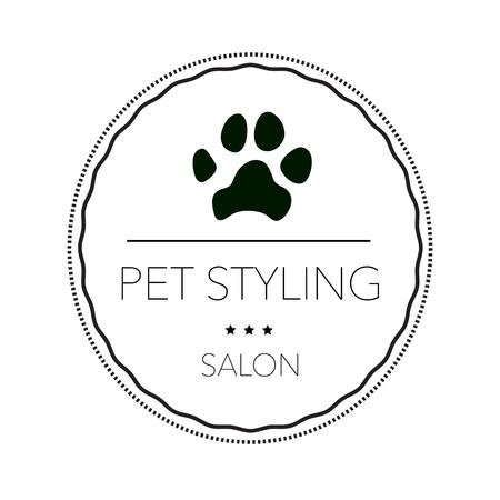 Logotipo para peluquería de mascotas, tienda de peluquería y peluquería, tienda de mascotas para perros y gatos. Ilustración vectorial