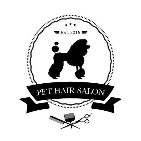 Logo für Tierfriseursalon, Styling- und Pflegeshop, Tierhandlung für Hunde und Katzen. Vektorillustration Logo