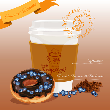 Gourmet donut meal. Chocolate donut with blueberries coupled with cappuccino. Vector Illustration Reklamní fotografie - 102686032