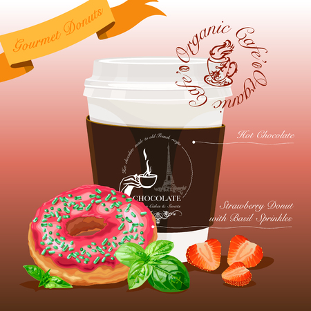 Gourmet donut meal. Strawberry donut with basil sprinkles coupled with hot chocolate. Vector Illustration