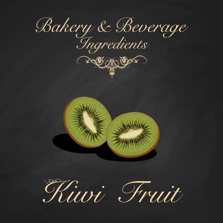 Bakery and beverage ingredients - kiwi fruit. Vector Illustration