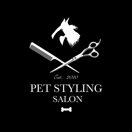 Logo for pet hair salon, styling and grooming shop, store for dog and cats. Vector illustration