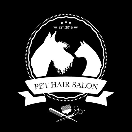 Logo for pet hair salon, pet styling and grooming shop, store for dog and cats. Vector illustration Stock Illustratie