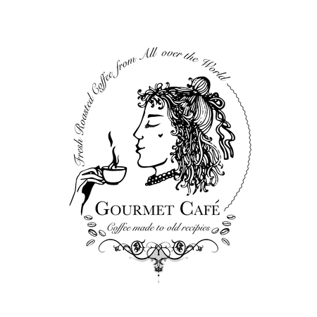 Hand drawn logo for cafe, coffee outlet or coffee company with elegant lady holding coffee cup. Vector Illustration  イラスト・ベクター素材