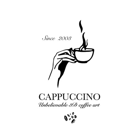 Hand drawn logo for cafe or coffee outlet offering 3d cappuccino drinks. Vector Illustration